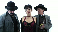 Famous characters - 2 - Big Nose Kate smiling with her two gents - stock footage