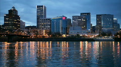 Downtown Portland, Oregon Skyline and the Willamette River Stock Footage