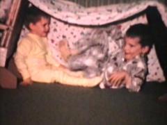 Kids Make Inside Fort (1968 Vintage 8mm film) Stock Footage
