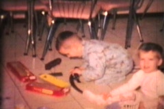 Boy With New Train Set (1968 Vintage 8mm film) Stock Footage