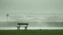Huge waves breaking over sea wall 1 - stock footage