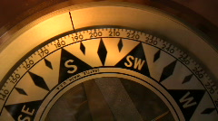 Antique brass compass - stock footage
