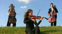 Three musicians plays violin and violoncellos on meadow Stock Footage