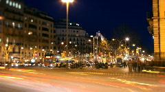 Barcelona traffic night urban city  Stock Footage