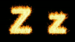 Loopable burning Z character, capital and small Stock Footage