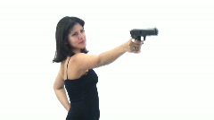 Sexy Brunette  lady with a gun - 4 - I just aim and shoot, see? Stock Footage