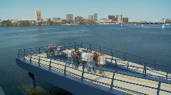 People walking on the Mass Ave Bridge Stock Footage