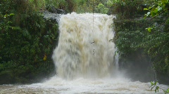 Stock Video Footage of river and waterfall, jungle waterfall, after rain, #1