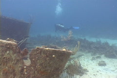 Scuba diver and shipwreck  Stock Footage