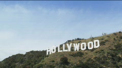 Stock Video Footage of Hollywood Sign Zooom-in