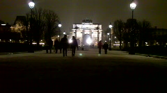 Nighttime in the Tuileries of Paris, France - stock footage