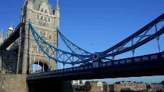 Tower bridge london night city urban river thames transport Stock Footage