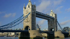 Tower bridge london night city urban river thames transport Stock Footage