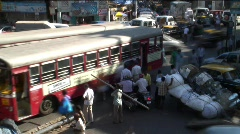 Busy Road Junction, by Crawford Market, Mumbai, India  Stock Footage