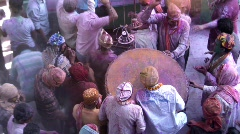 Holi Festival, nr Mathura, drum & celebration, Uttar Pradesh State, India, Stock Footage