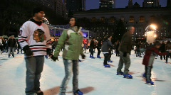 Ice Skating in Bryant Park in New York City Stock Footage