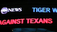 Tiger Woods  Headline on News Ticker Stock Footage
