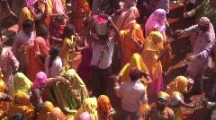 Holi Festival, nr Mathura, Uttar Pradesh State, India, Stock Footage