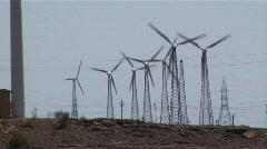 Wind power & energy, Jaisalmer, Rajasthan, India Stock Footage