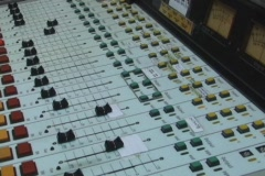 Radio station console and VU meters 1 looping Stock Footage