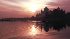 Sun rise over the Taj Mahal, Agra India, Asia Stock Footage