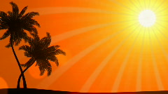 Palm Trees with Sun (Animated HD Background) Stock Footage
