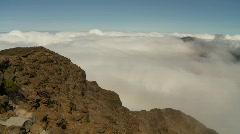 Clouds coming into Haleakalā crater, pan Stock Footage