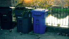T178 Beautiful trash recycle bins recycleables blue bin Stock Footage