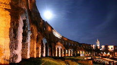 Ancient amphiteatre under the Moon Stock Footage