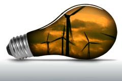 Wind turbines inside light bulb - NTSC Stock Footage