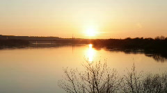 Sunset over the river 1b Stock Footage