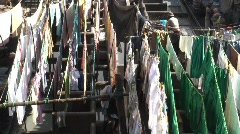 Washing Laundry,  Dhobi  Ghat, Mumbai India Stock Footage