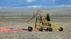 Yellow powered parachute starting P HD 6770 Stock Footage