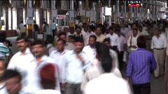 Commuters at Victoria Terminus, Mumbai, India Stock Footage