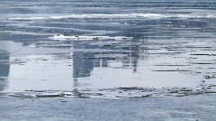 Ice drift and skyscraper reflection. Stock Footage