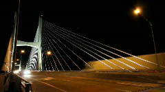 Traffic Time Lapse over Cable Bridge Stock Footage