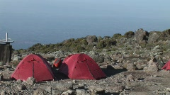 Red tents at base camp Stock Footage