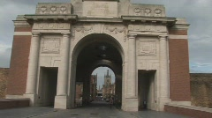 Ieper battlefield monument WW2 Stock Footage