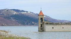 Flooded church in Mavrovo region, Macedonia - stock footage