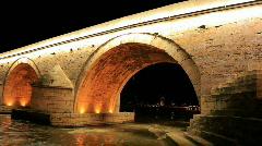 Stone bridge in Skopje, Macedonia Stock Footage