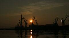 Shipyard sunset Stock Footage