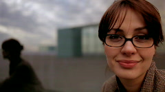Woman outside smart female person Stock Footage