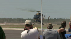 A Landing Helicopter At An Airshow Stock Footage