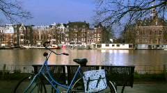 Amsterdam canal with bike (HD) - stock footage
