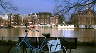 Amsterdam canal with bike (HD) Stock Footage