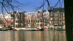 Amsterdam canal pan (HD) - stock footage