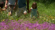 Family Hike Mountain Flowers 24 59.94 Stock Footage