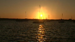 Sailboats at Sunset - Wide Shot Stock Footage