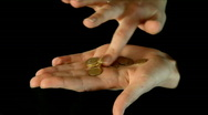 Hands counting money on black background Stock Footage
