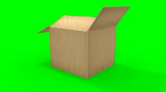 Big cardboard box opening - stock footage